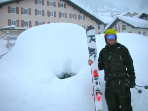 Malcolm Sangster of Sherpa's cinema checking out nearly two metre's of snow in Stuben last week.