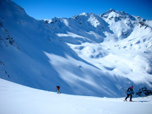 Ski touring up Wild Ebene with Kaltenburg framing the shot.