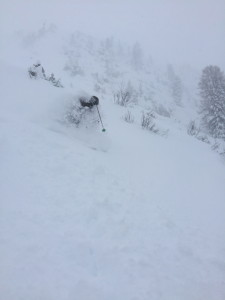 Powder skiing at its best down from Kapall.